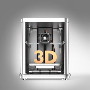 メタリック調3Dプリンタにソリッドの3D文字の写真素材 [FYI04647510]