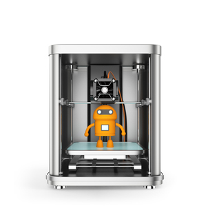 3Dプリンタと黄色のロボットの写真素材 [FYI04647512]