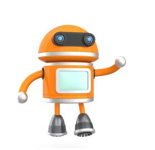 手を振るロボットの写真素材 [FYI04647514]