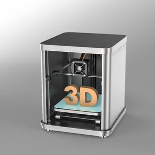 メタリック調3Dプリンタにソリッドの3D文字の写真素材 [FYI04647518]