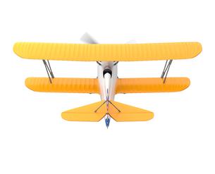 白バックの黄色複葉機の写真素材 [FYI04647524]