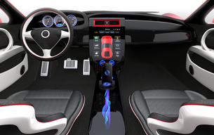 スポーツカーインテリアデザインコンセプト。スマートフォンとカーナビが同期中の写真素材 [FYI04647538]