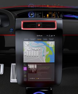 スポーツカーインテリアデザインコンセプト。ナビゲーション地図表示中。の写真素材 [FYI04647540]