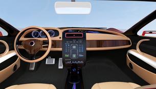 木目調のカーコンソールパネルに車内制御ボタンが表示されるの写真素材 [FYI04647543]