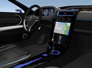 スポーツカーインテリアデザインコンセプト。ナビゲーション地図表示中。の写真素材 [FYI04647546]