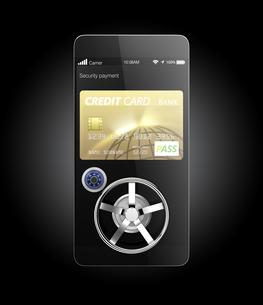 スマートフォンのカード決済アプリのセキュリティーコンセプトの写真素材 [FYI04647548]