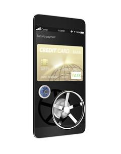 スマートフォンのカード決済アプリのセキュリティーコンセプトの写真素材 [FYI04647549]