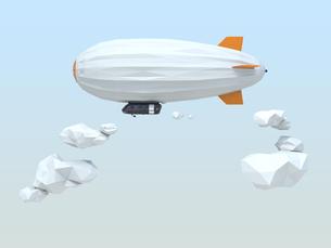 ポリゴンの飛行船が空を飛ぶのイラスト素材 [FYI04647550]