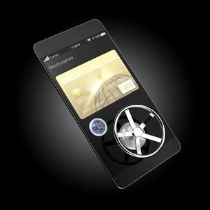 スマートフォンのカード決済アプリのセキュリティーコンセプトの写真素材 [FYI04647555]