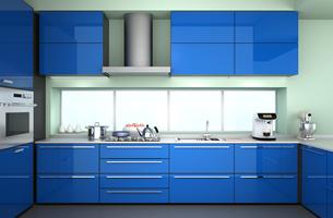 エスプレッソマシンのあるブルーのシステムキッチンの写真素材 [FYI04647556]