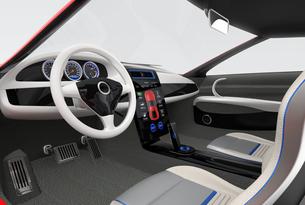 スポーツカーインテリアデザインコンセプト。スマートフォンとカーナビが同期中の写真素材 [FYI04647562]