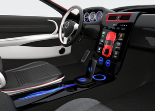 スポーツカーインテリアデザインコンセプト。スマートフォンとカーナビが同期中の写真素材 [FYI04647563]