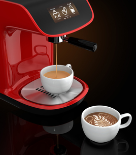 赤色コーヒーメーカーでエスプレッソコーヒーを作るの写真素材 [FYI04647565]