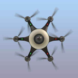 底面からみる監視カメラを備えたドローンの写真素材 [FYI04647571]