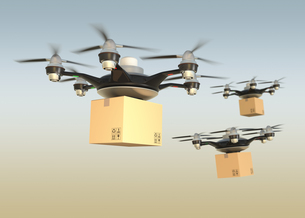 宅配用無人飛行機ドローンが配達中の写真素材 [FYI04647581]