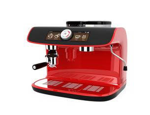 赤色大型エスプレッソマシンでエスプレッソを抽出しているの写真素材 [FYI04647590]