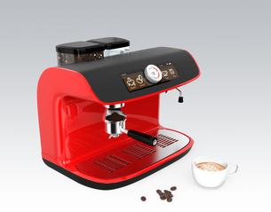 赤色大型エスプレッソマシン、オリジナルデザインの写真素材 [FYI04647598]