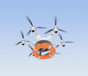 浮き輪を運ぶドローン。高速救助支援コンセプト。の写真素材 [FYI04647609]