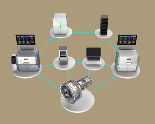 スマート工場コンセプト。3Dプリンタ、マシニングセンタなどによる協業の写真素材 [FYI04647616]