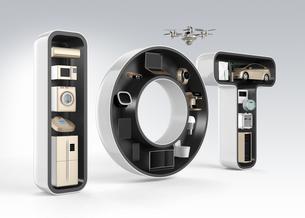 IOT文字にあるスマート家電。暮らしにあるモノのインタネットコンセプトの写真素材 [FYI04647624]