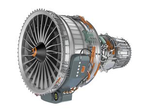ジェットファンエンジンの側面の写真素材 [FYI04647625]