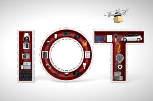 IOT文字にある工業製品。産業製品におけるモノのインタネットコンセプトの写真素材 [FYI04647632]