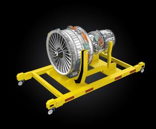 エンジンスタンドに収納されたジェットファンエンジンの写真素材 [FYI04647637]