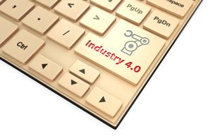 キーボードのキーにある「Industry 4.0」文字。スマート工場コンセプト。の写真素材 [FYI04647639]