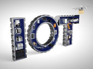 IOT文字にある工業製品。産業製品におけるモノのインタネットコンセプトの写真素材 [FYI04647640]
