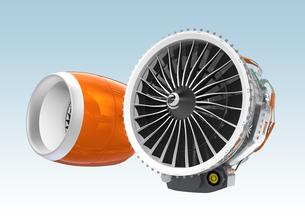 カウル付きとカウルなしのジェットファンエンジンのイメージの写真素材 [FYI04647642]