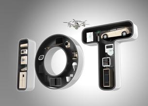 IOT文字にあるスマート家電。暮らしにあるモノのインタネットコンセプトの写真素材 [FYI04647643]