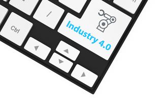 キーボードのキーにある「Industry 4.0」文字。スマート工場コンセプト。の写真素材 [FYI04647644]