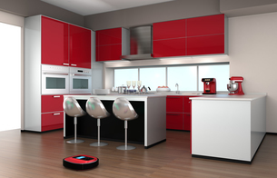 カウンターチェアがあるキッチンインテリアの写真素材 [FYI04647648]