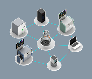スマート工場コンセプト。3Dプリンタ、マシニングセンタなどによる協業の写真素材 [FYI04647650]