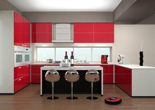 カウンターチェアがあるキッチンインテリアの写真素材 [FYI04647651]