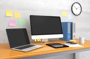 机に置いてあるパソコンとファイルの写真素材 [FYI04647666]
