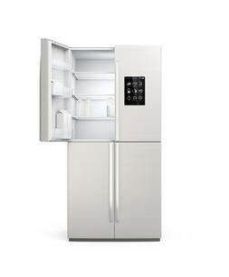 タッチパネル付きスマー冷蔵庫の扉が開いていて、空き牛乳瓶が見えるの写真素材 [FYI04647669]