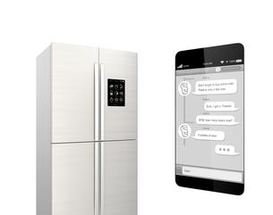 チャットアプリで冷蔵庫と対話して、足りないものを買う。モノのインタネットのコンセプトの写真素材 [FYI04647672]