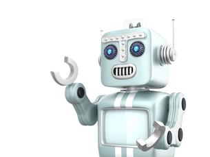 レトロロボットが手を伸ばして合図を出しているの写真素材 [FYI04647685]