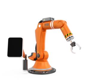 オレンジ色のモニター付きロボットアームの写真素材 [FYI04647690]
