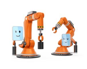 2台モニター付きロボットアーム同士がコミュニケーションをとるの写真素材 [FYI04647696]