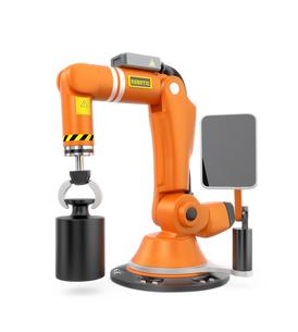 オレンジ色のモニター付きロボットアームの写真素材 [FYI04647703]