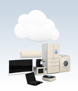 スマート家電とタブレットPC。スマホと家電製品の連携コンセプトの写真素材 [FYI04647705]