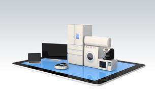 スマート家電とタブレットPC。スマホと家電製品の連携コンセプトの写真素材 [FYI04647709]