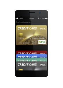 スマートフォンのモバイルクレジット支払いコンセプトの写真素材 [FYI04647720]