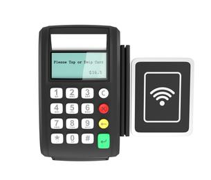 クレジットカード、電子マネー決済対応の端末。の写真素材 [FYI04647722]