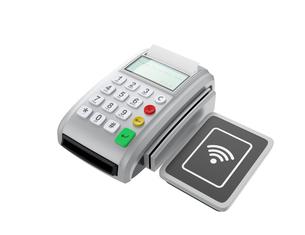クレジットカード、電子マネー決済対応の端末。の写真素材 [FYI04647724]