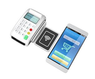 スマートフォンによるモバイルキャッシュレス決済のコンセプト。の写真素材 [FYI04647725]