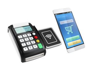 スマートフォンによるモバイルキャッシュレス決済のコンセプト。の写真素材 [FYI04647726]
