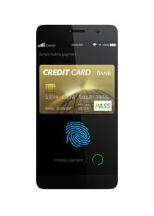 スマートフォンのモバイルクレジット支払いコンセプトの写真素材 [FYI04647728]